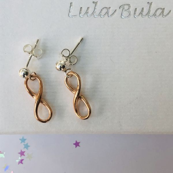 Silver & rose gold inifinity earrings